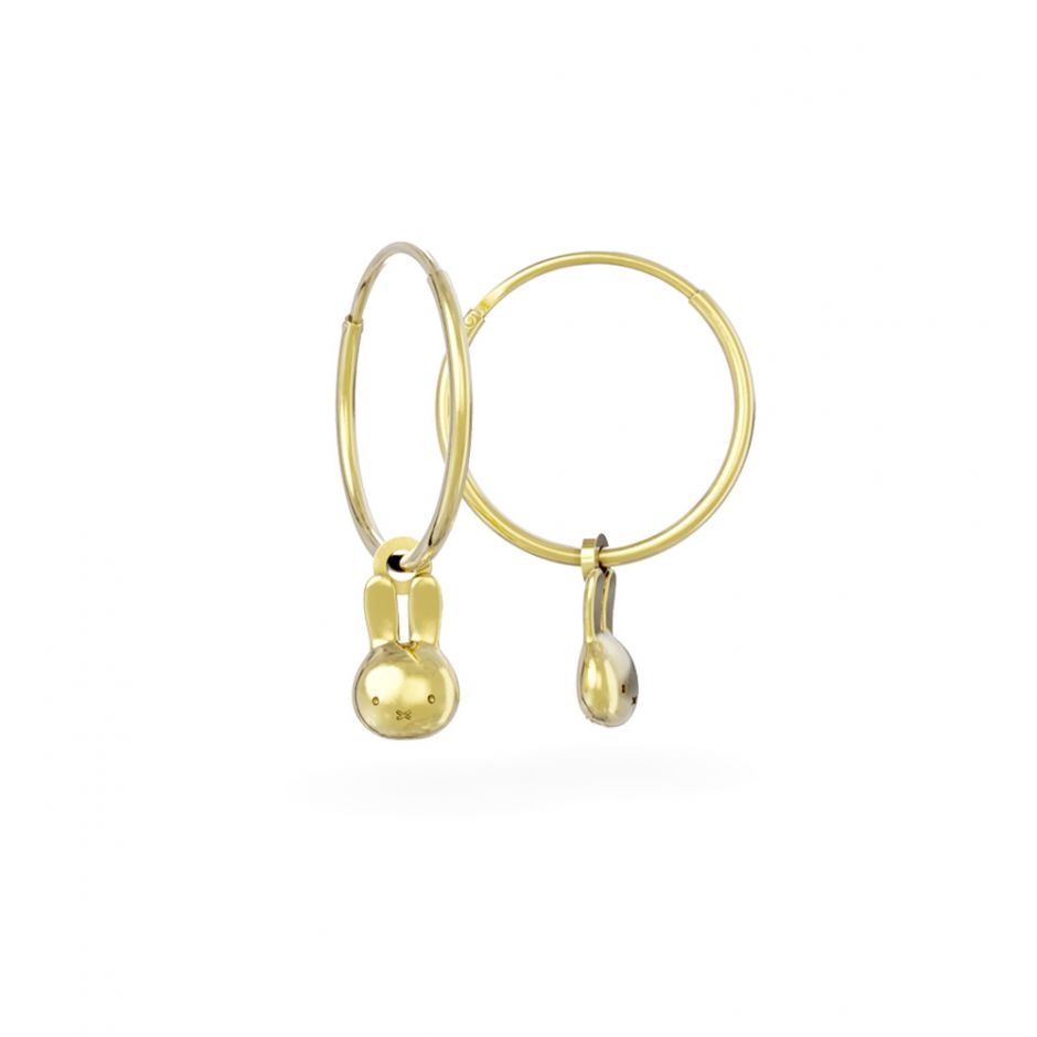 Miffy - 18ct Gold Vermeil Mini Head Hoop Earrings