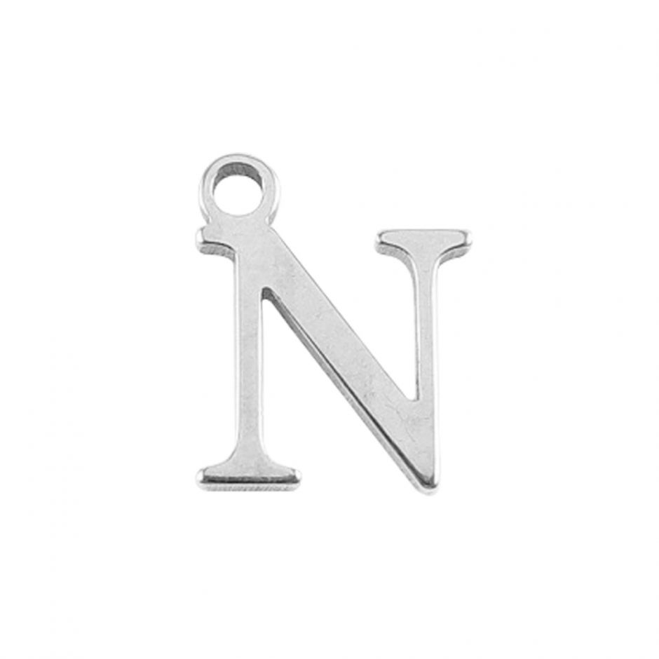 Sterling Silver Mini Alphabet Charm - N