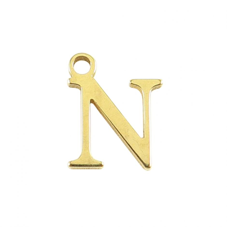 Gold Vermeil Mini Alphabet Charm - N