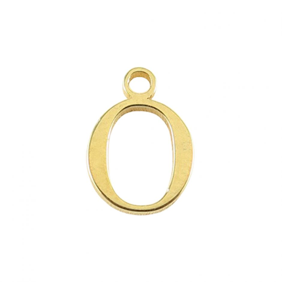 Gold Vermeil Mini Alphabet Charm - O