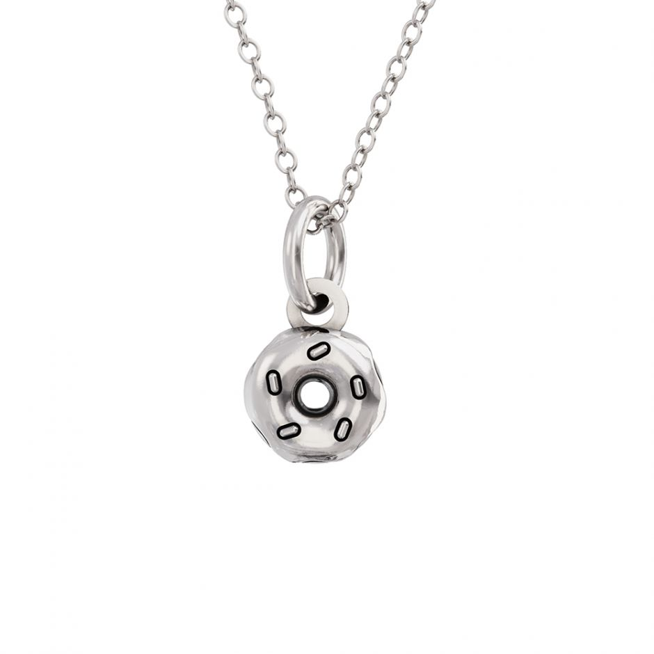 Pusheen Sterling Silver Donut Charm Necklace