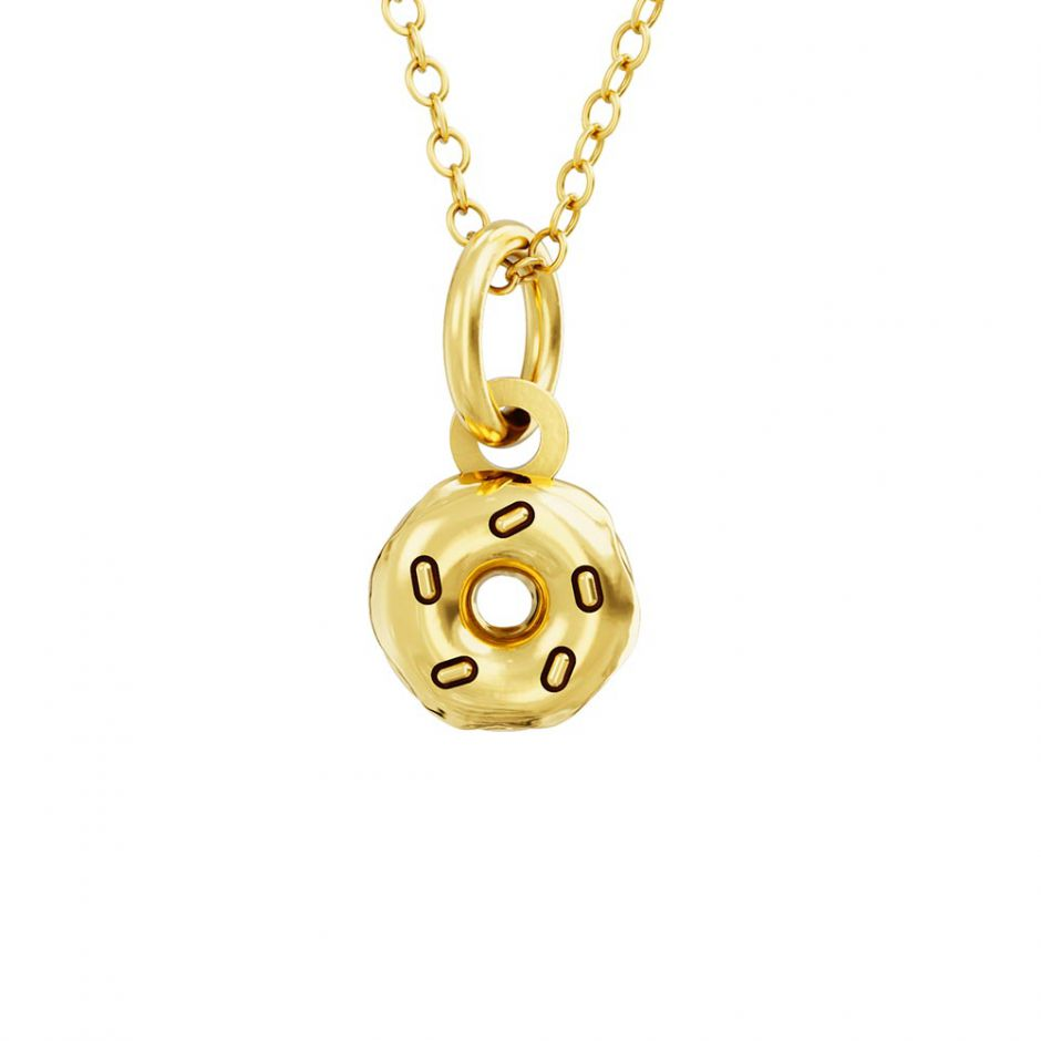 Pusheen 18ct Gold Vermeil Donut Charm Necklace