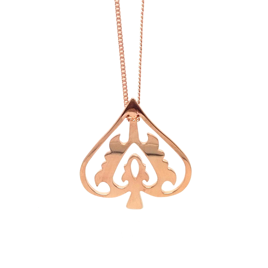 Rose Gold Ace Of Spades Necklace