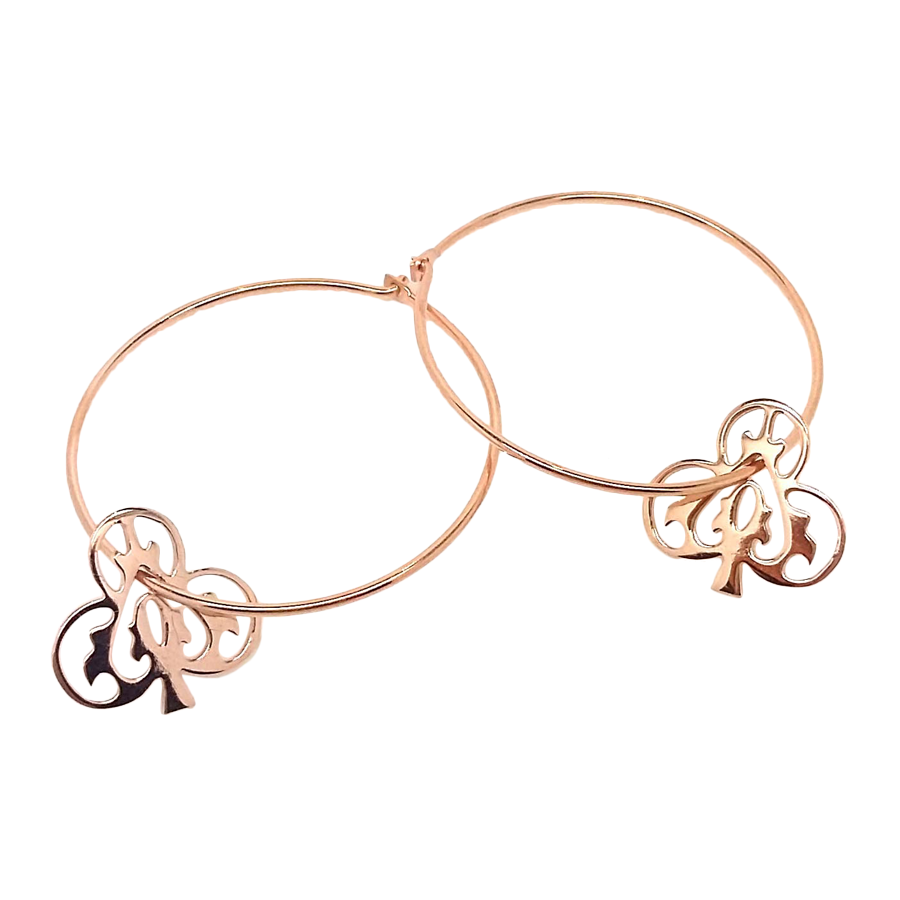 Rose Gold Ace Of Clubs Hoops