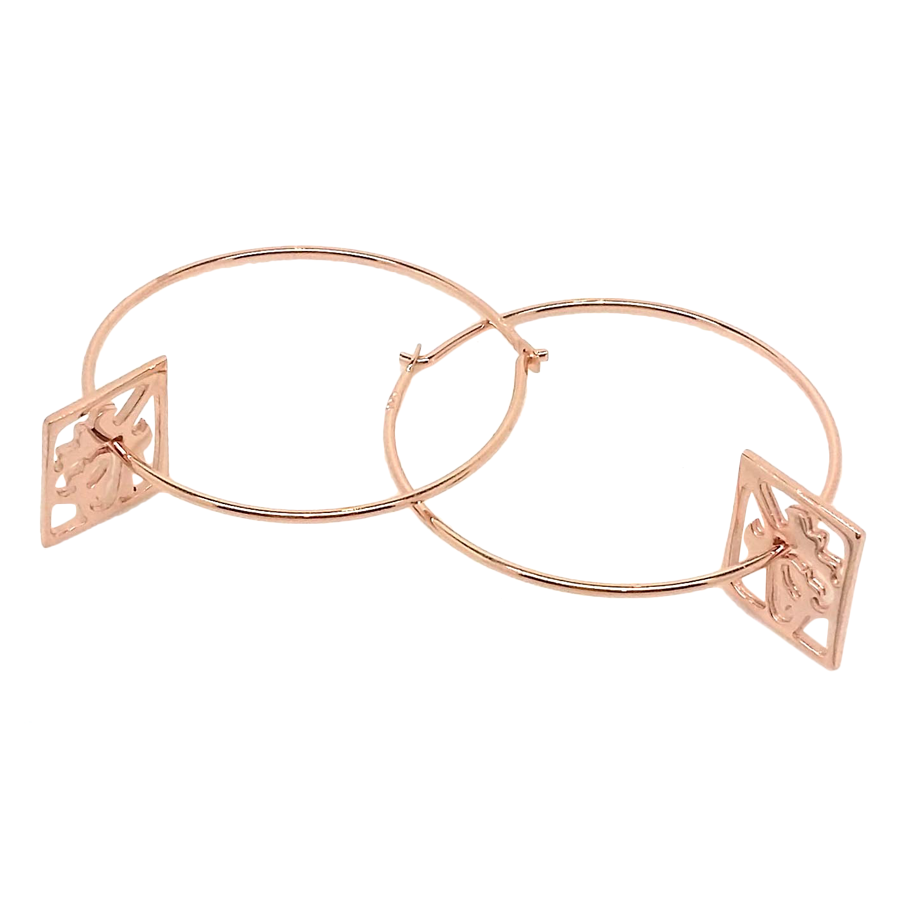 Ace of Diamonds Rose Gold Hoop Earrings