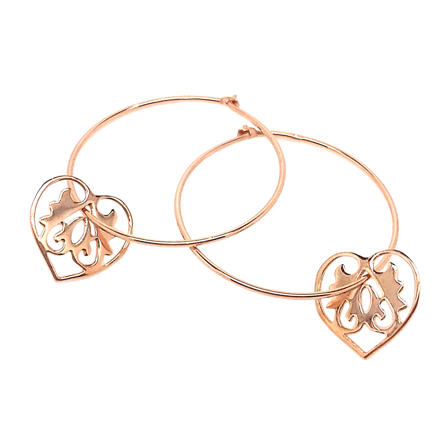 Ace of Hearts Rose Gold Hoop Earrings