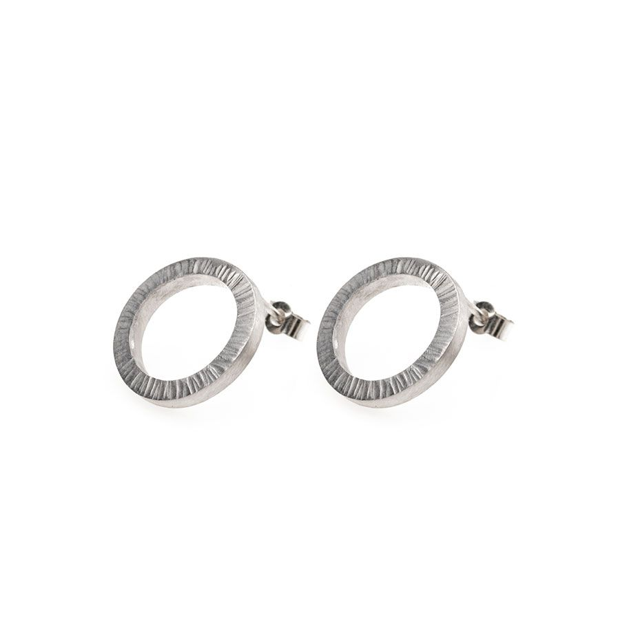 Sterling Silver High Line Circle Stud Earrings