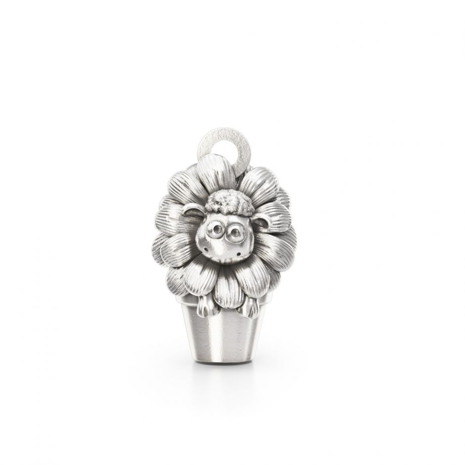 Sterling Silver Shaun In The Flower Pot Charm