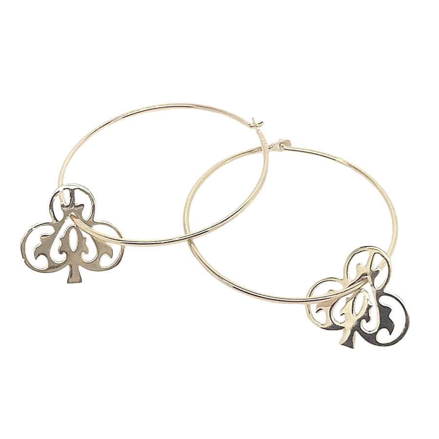 Silver Ace Of Clubs Hoops