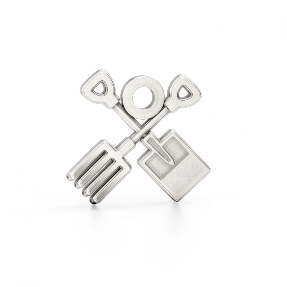 Shaun The Sheep - Sterling Silver Fork & Spade Charm