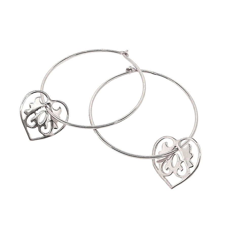 Ace of Hearts Silver Hoop Earrings