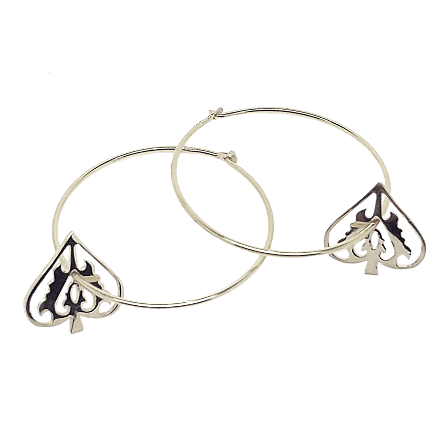 Silver Ace Of Spades Hoops