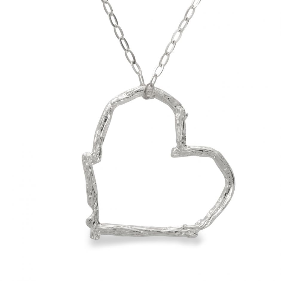 Licensed to Charm - Sterling Silver Twig Heart Necklace Set