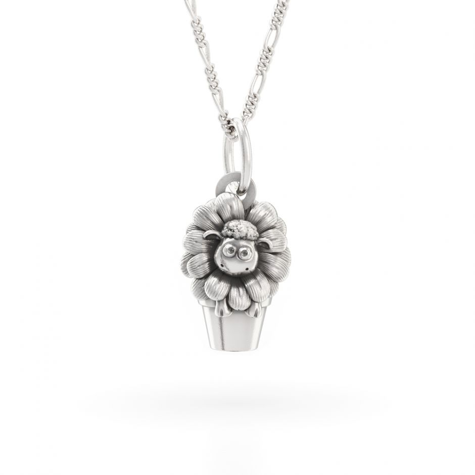 Shaun The Sheep - Sterling Silver Shaun In The Flower Pot Necklace Set