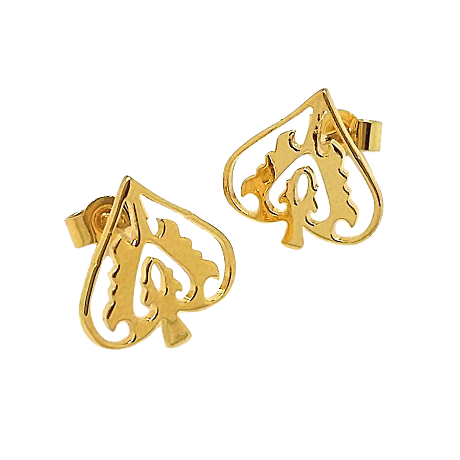 Gold Ace of Spades Studs