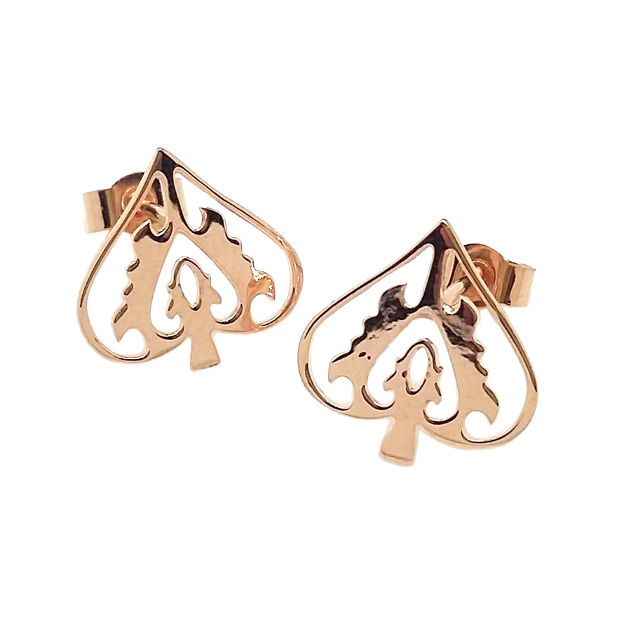 Rose Gold Ace Of Spades Studs