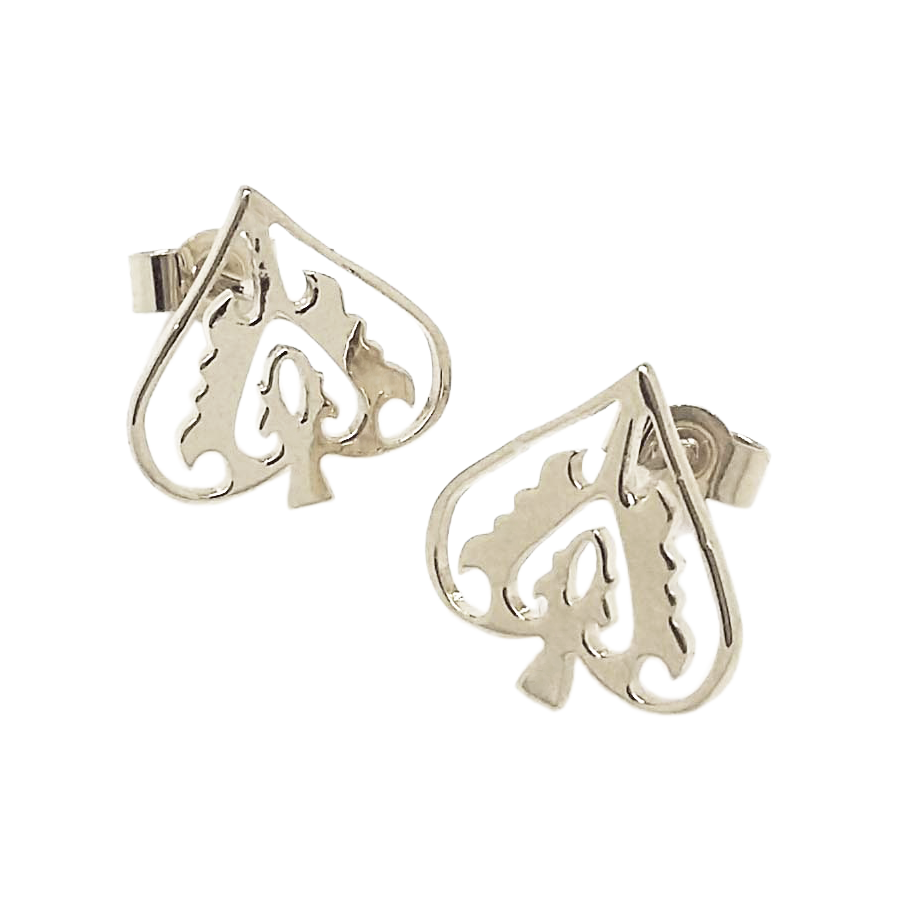 Silver Ace of Spades Studs
