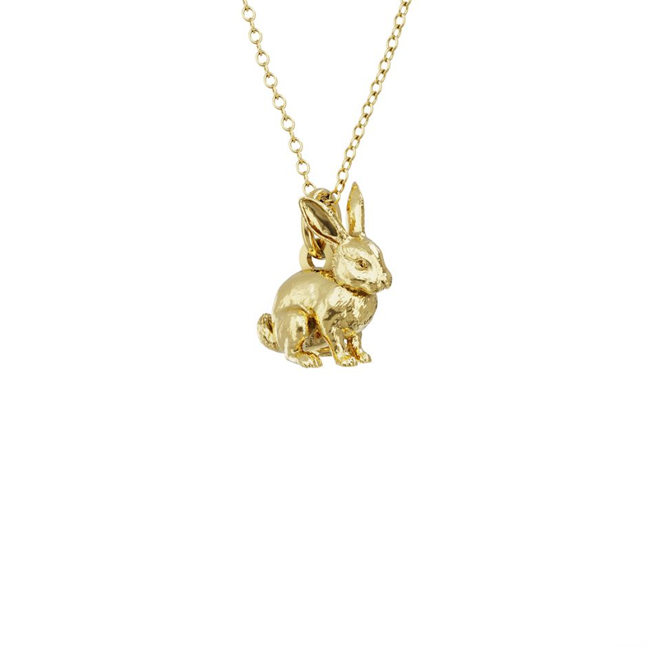 Rabbit Charm Necklace 18ct Gold Vermeil