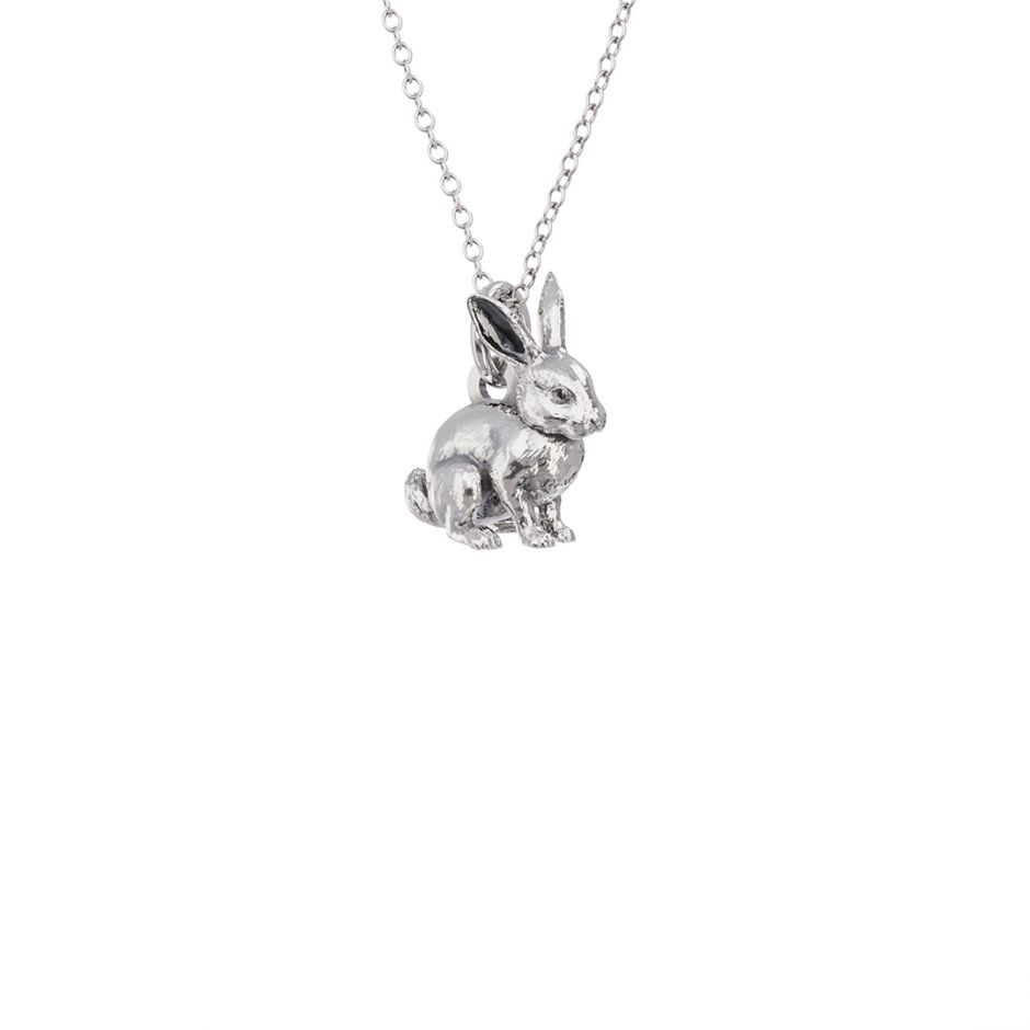 Rabbit Charm Necklace Sterling Silver