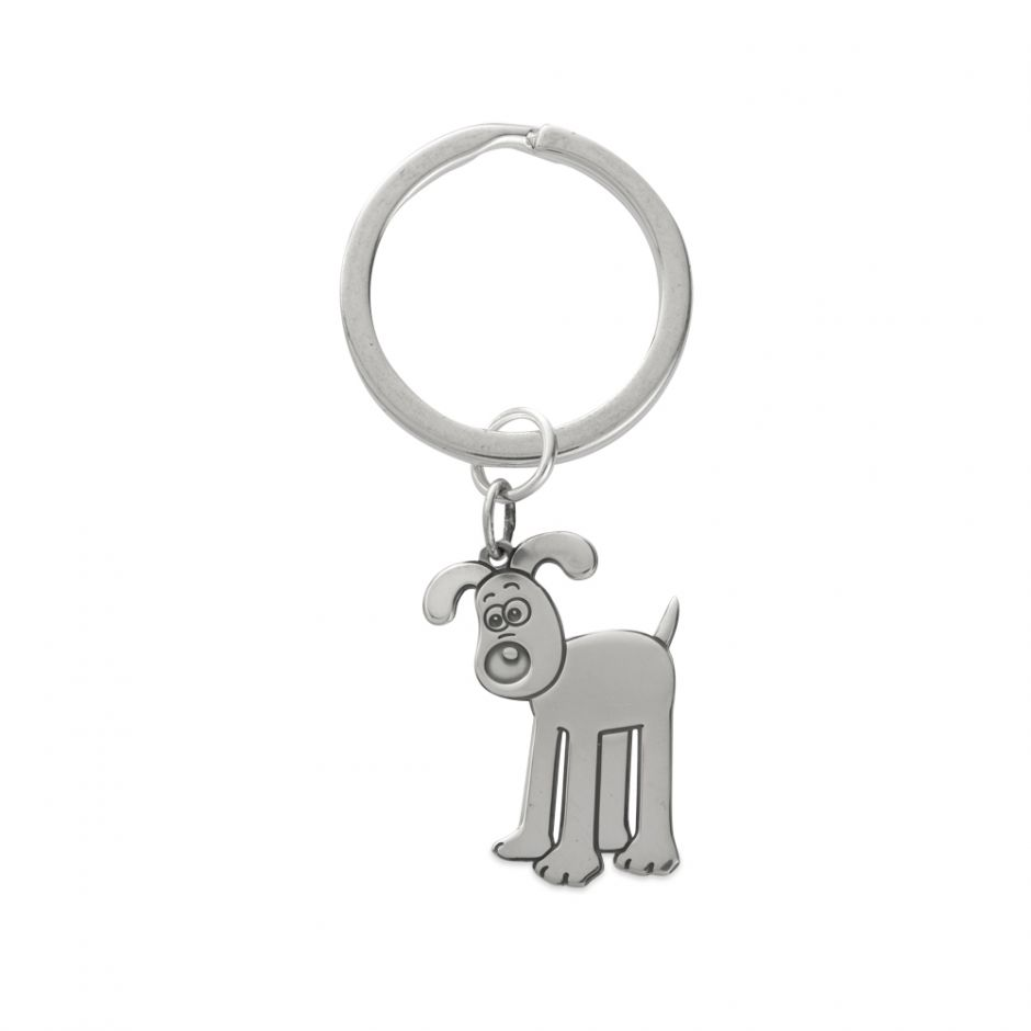 Sterling Silver Etched Standing Gromit Charm Key Ring
