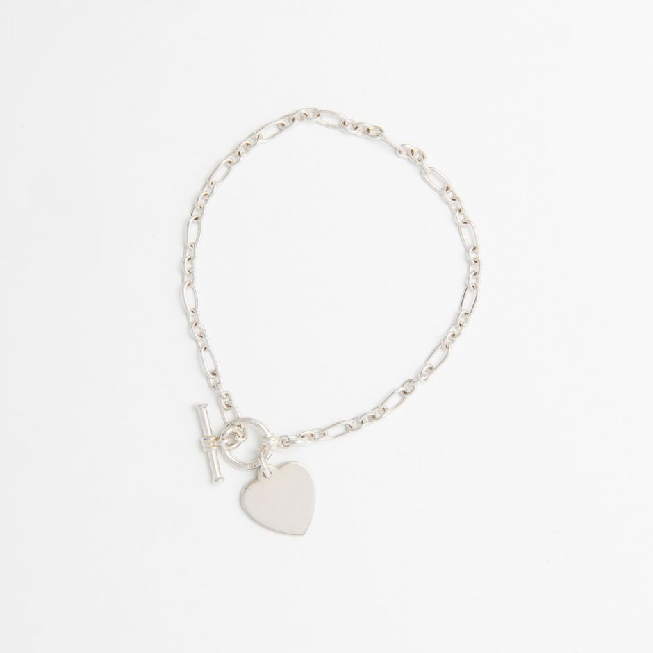 STERLING SILVER HEART T-BAR BRACELET