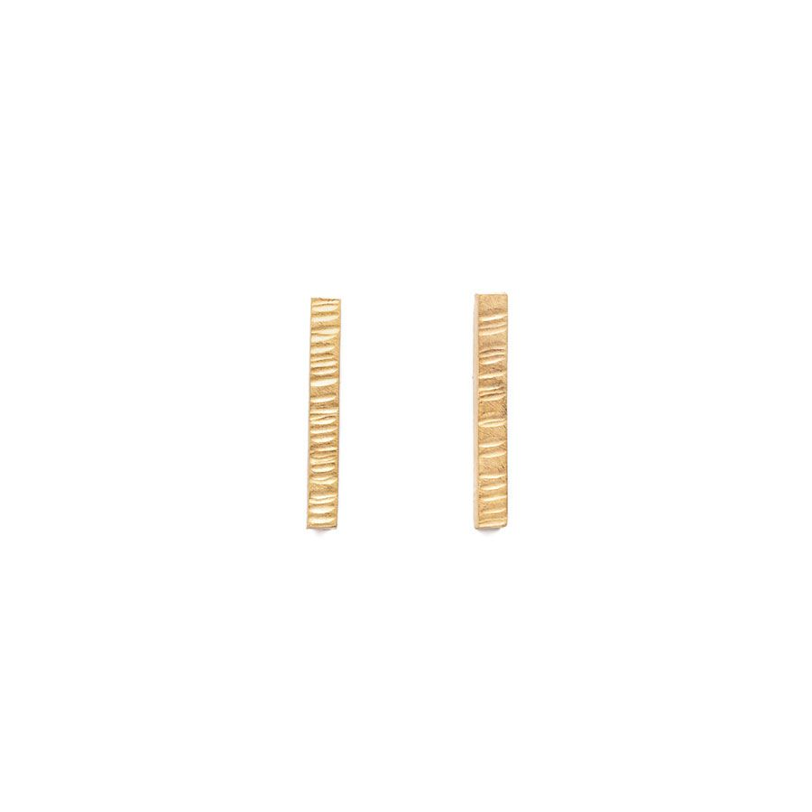 9ct Gold High Line Bar Stud Earrings