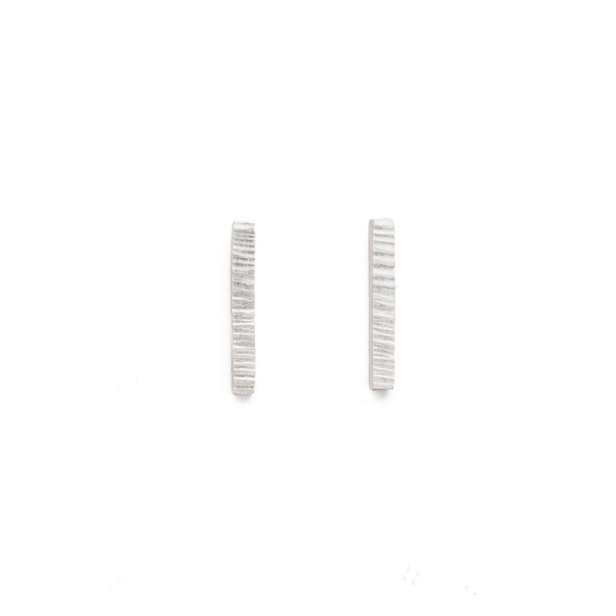 Sterling Silver High Line Bar Stud Earrings