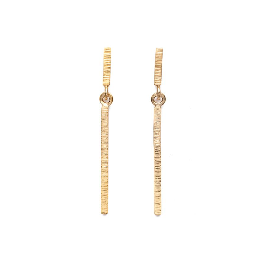 9ct Gold High Line Drop Bar Stud Earrings