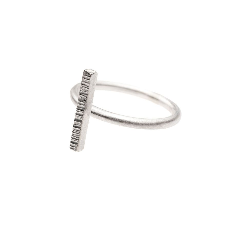 Sterling Silver High Line Vertical Bar Ring