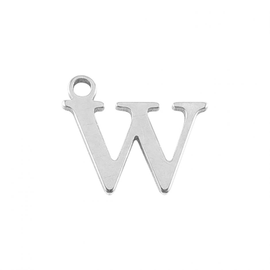 Sterling Silver Mini Alphabet Charm - W