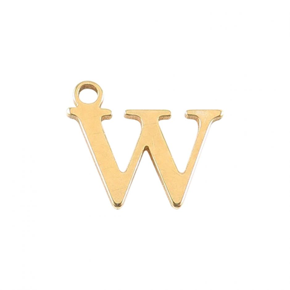 Gold Vermeil Mini Alphabet Charm - W