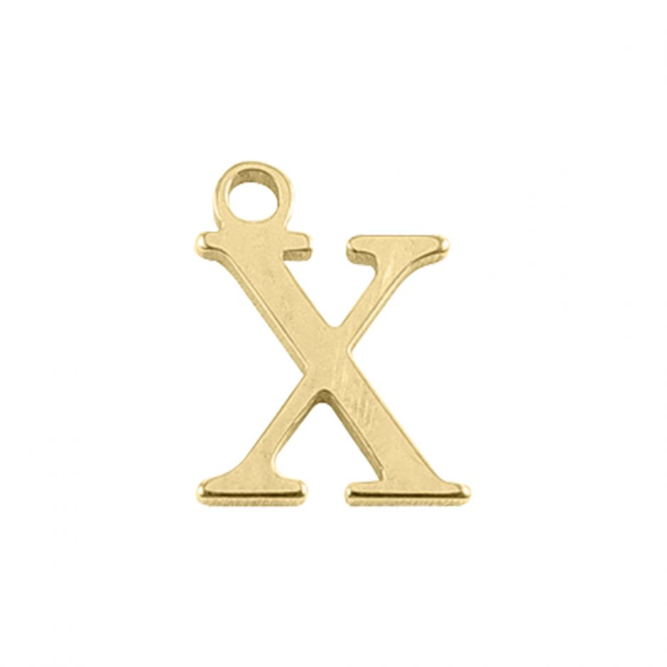 Gold Vermeil Mini Alphabet Charm - X